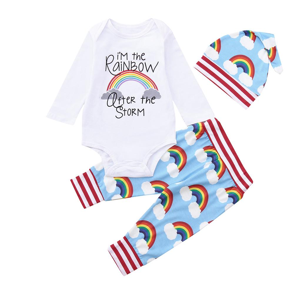 Baby Boy Girls Rainbow Print Outfits Sets Newborn Hoodie Letter Print Romper Jumpsuit Pants