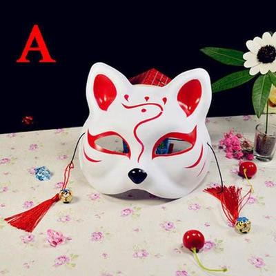 New Half Face Cat Mask Japanese Anime Hand-Painted Party Cosplay Prom Mask Gift