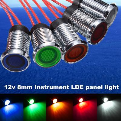Motorcycle Car Green LED 8mm 12V Dash Panel Indicator Warning Light Lamp