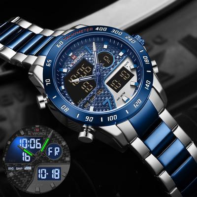 Fashion Wristwatch for Mens Military Stainless Steel Digital Dual Display Quartz Watches