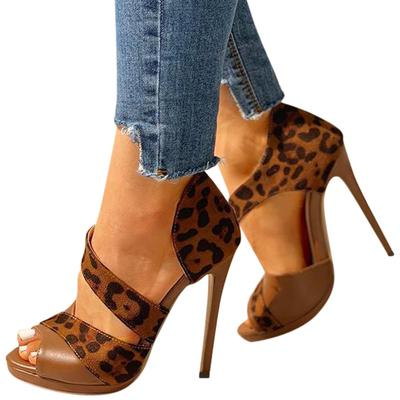 Women Sandals Summer High Heel Ankle Strap Leopard Casual