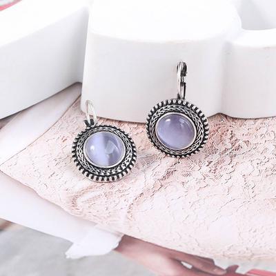 Ladies Simple Style Long Pendant Ear Hooks Black Stone Earrings Jewelry Gifts N7