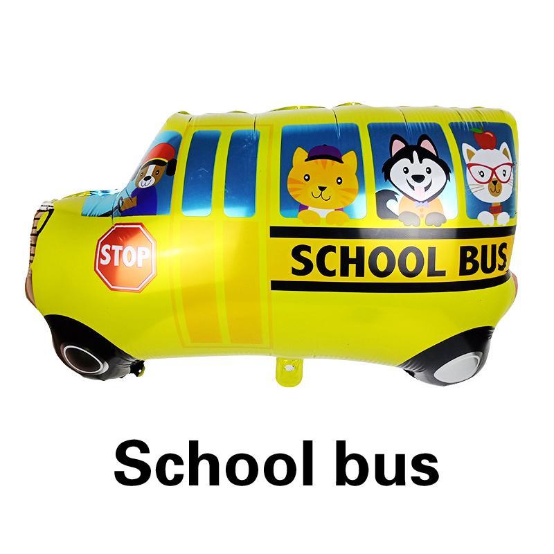 Cute Kids Birthday Gift School Bus Foil Balloon DIY Cartoon Car Fire Truck Toys