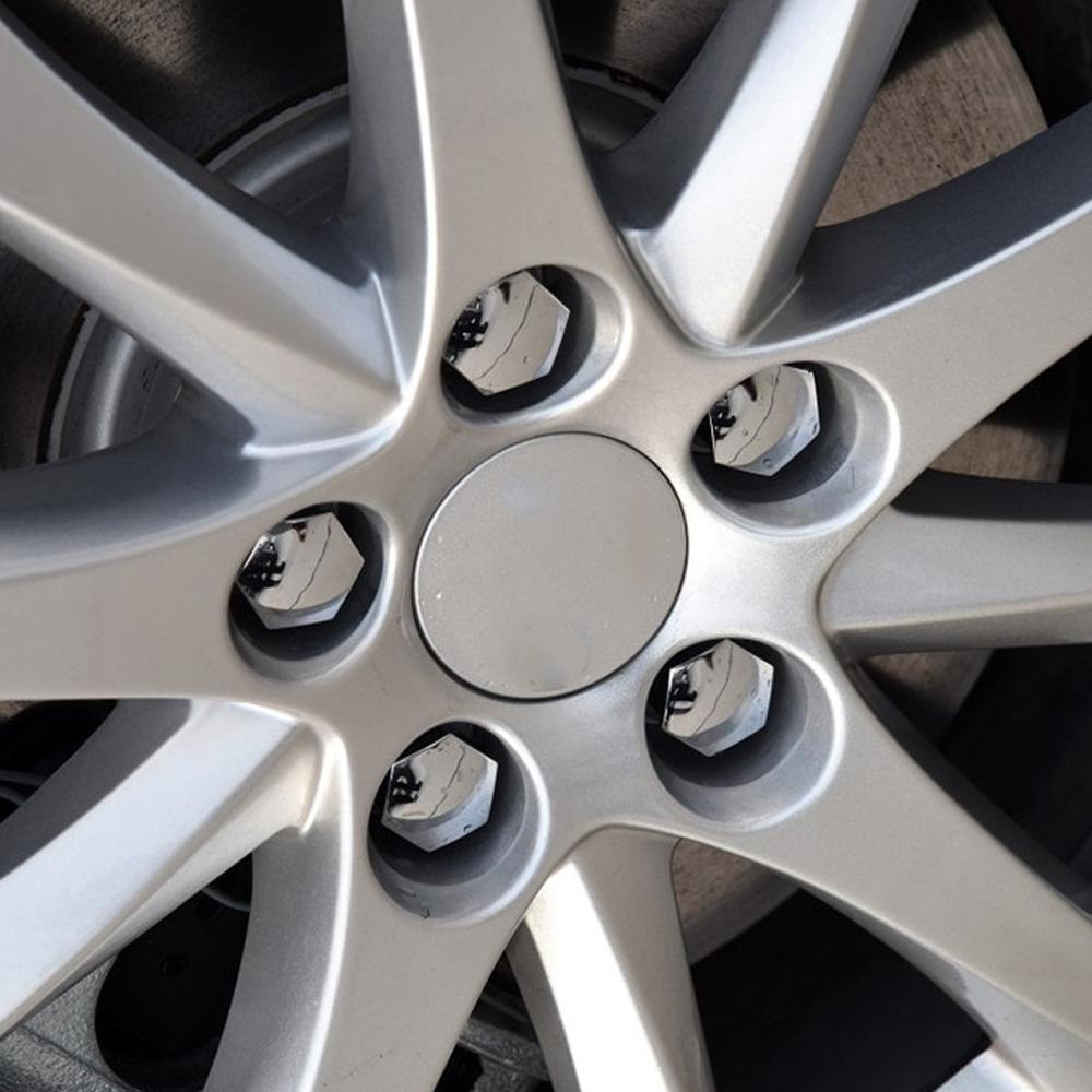 17mm Car Chrome Alloy Wheel Bolt Nut Covers Caps For Ford Peugeot Citroen 20Pcs