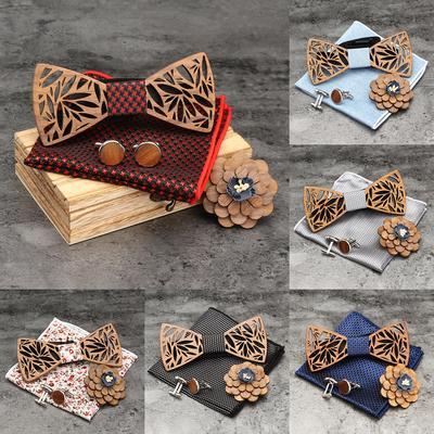 4Pcs//Set Men Bow Tie Handkerchief Cufflink Lapel Flower Wooden Hollow