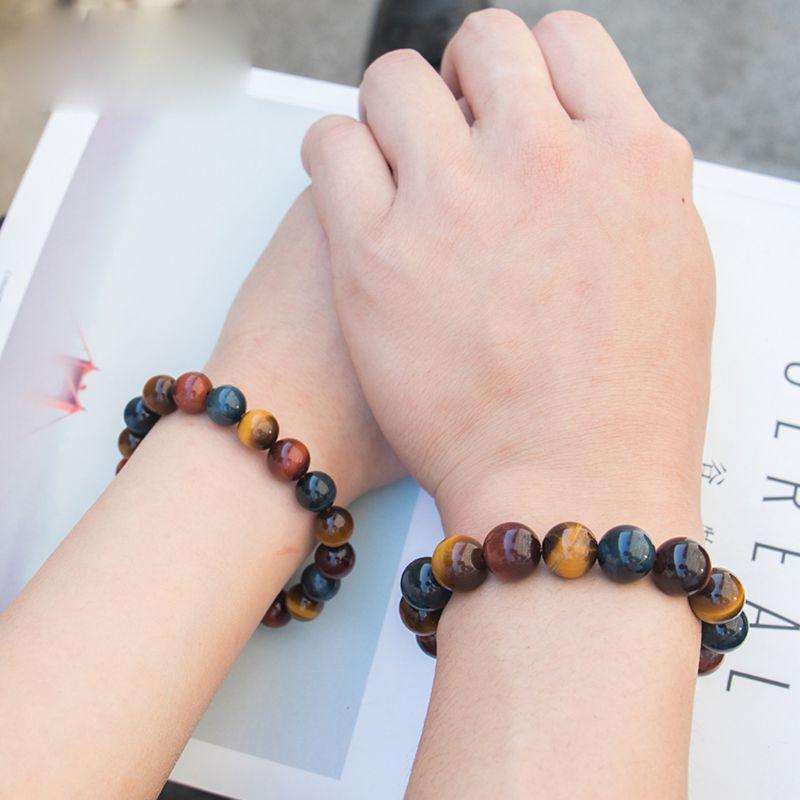 Femme Hommes Naturel Spots enfilade perles Bouddha Tête Perles Lava Rock Bracelets