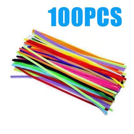 100шт цветные блеск синель стебли трубу палочки очистители для художественных ремесел и DIY фото