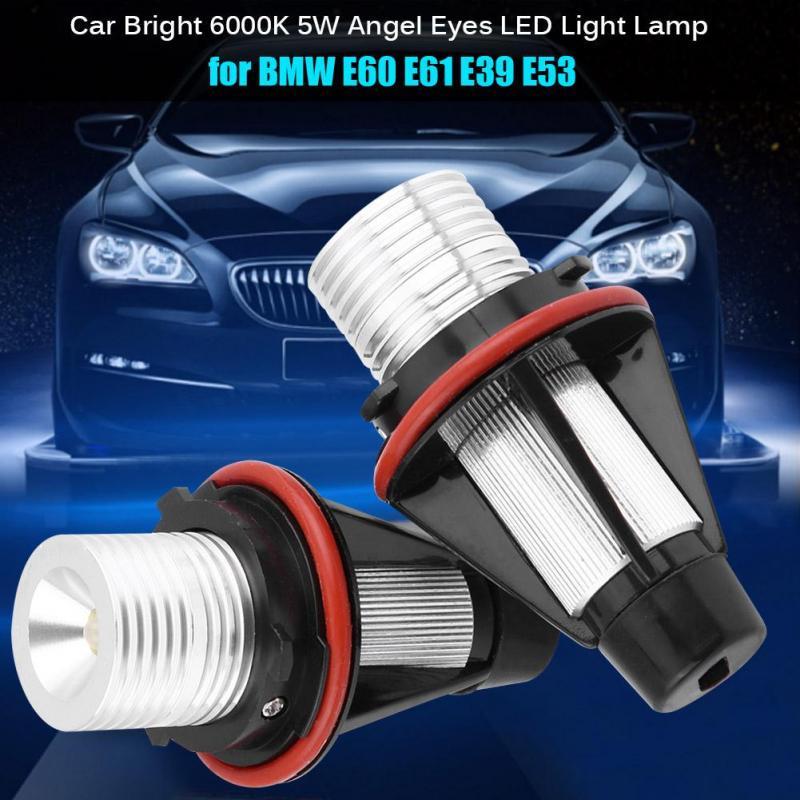 2pcs Angel Eyes Halo Light Bulbs Lamps Xenon White 6000K 5W Angel Eyes LED Light Lamp for BMW E60 E61 E39 E53 6312694048 63126916097 63126929309