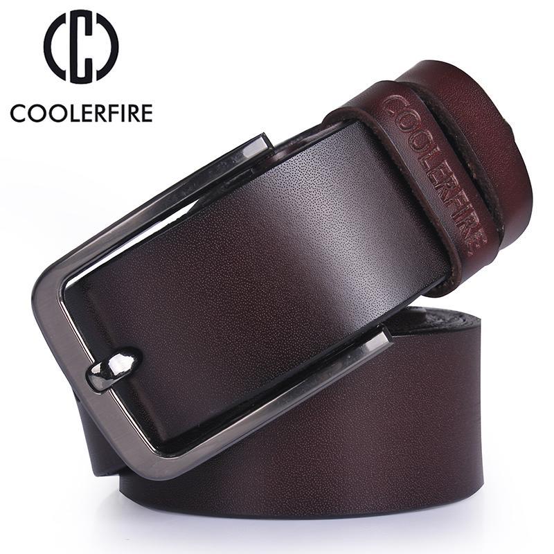 Leather Belt Men Genuine Luxury Alloy Pin Buckle Retro Business Jeans Accessory