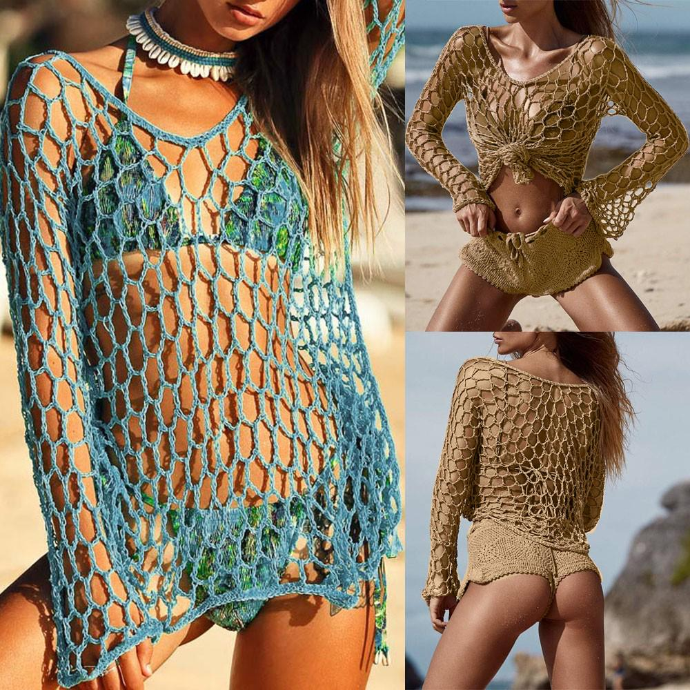 2c43fd8acee89 Women Sexy Crochet Beach Cover Up Fishnet Sarong Wrap Bikini Handmade Smock-buy  at a low prices on Joom e-commerce platform