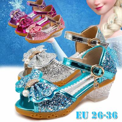 New Princess Shoes Kids Shoes Girls High Heels Dress Shoes Flower Butterfly Sandals Bowknot Crystal Princess Queen Cosplay Party Girl Dance Shoes