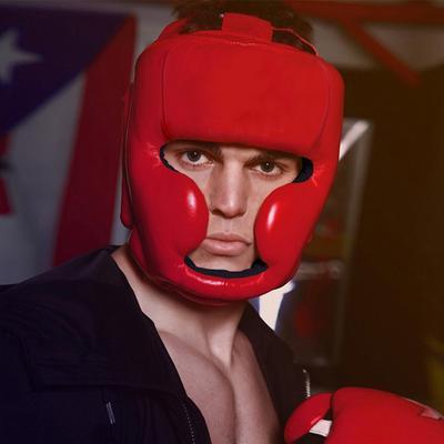 4Pcs Set Boxing Helmet Head Guard Muay Thai Groin//Leg//Chest Guards Protector