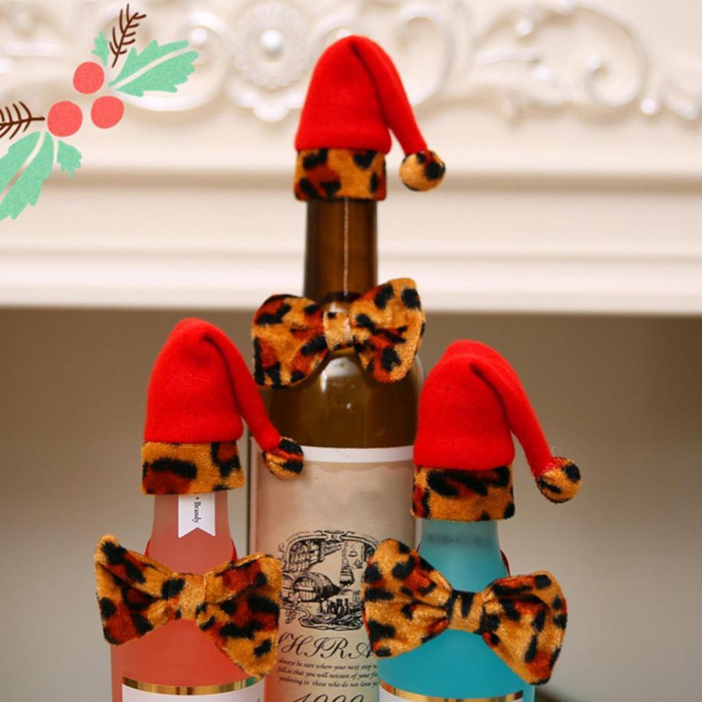UK stock Leopard Xmas Hat for wine bottle Bow tie Xmas party house decoration