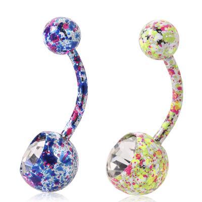 9caf572625c6 Body Piercing joyas cristal Rhinestone Floral cuelgan del vientre ombligo  anillo barra de botones