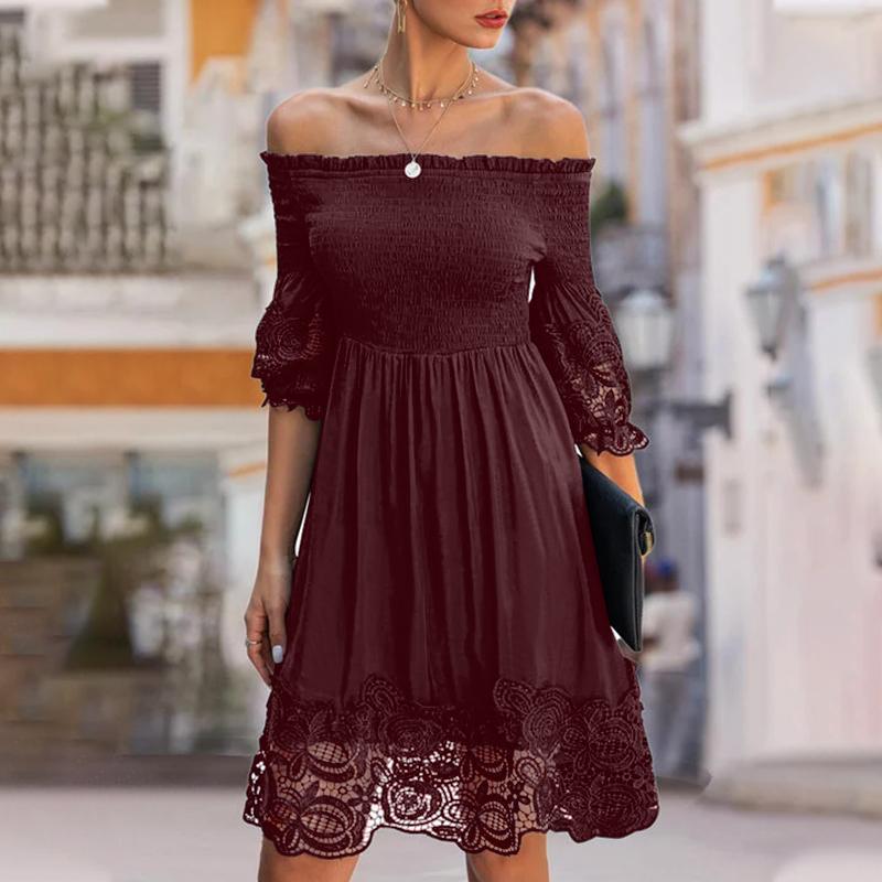 ZANZEA Womens Puff Sleeve Long Maxi Dress Elastic Neckline Off Shoulder Dresses