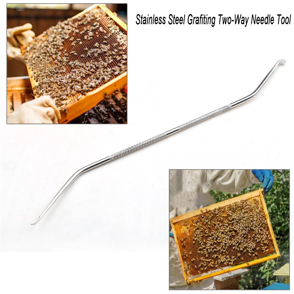 Durable Stainless Steel Bee Needle Two-way Grafiting Tool Beekeeping Equipment
