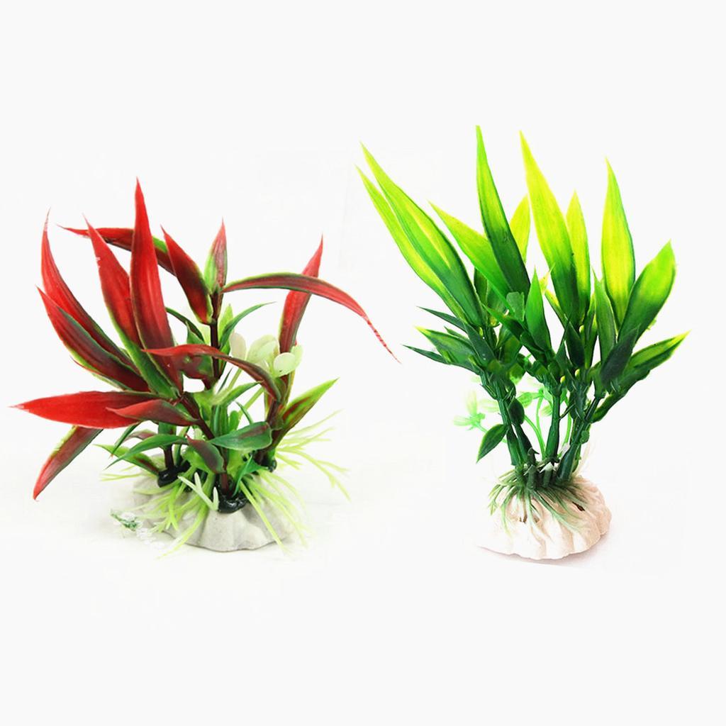 Planta plástica falsa del acuario decoración simulación falsa hierba ...