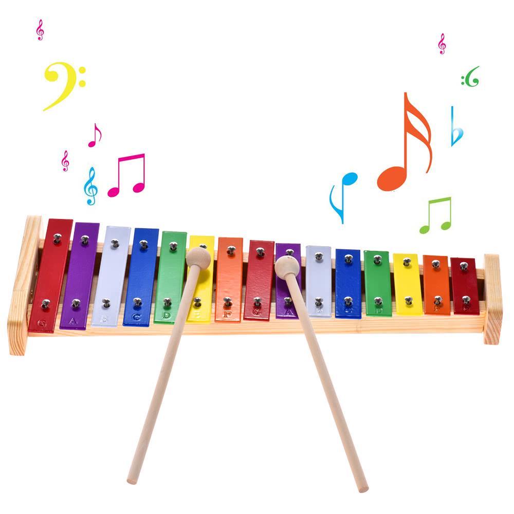 Colorat Glockenspiel Xilofon Lemn Aluminiu Percuţie Instrument Muzical Educaţionale Jucărie 15