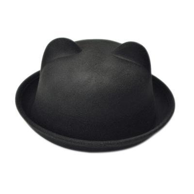 51e360d0aeb Cat Fedora Jazz Autumn Caps Bowler Women Felt Ears Spring Hat Bonnet Cap  Cylinder Person habiliment