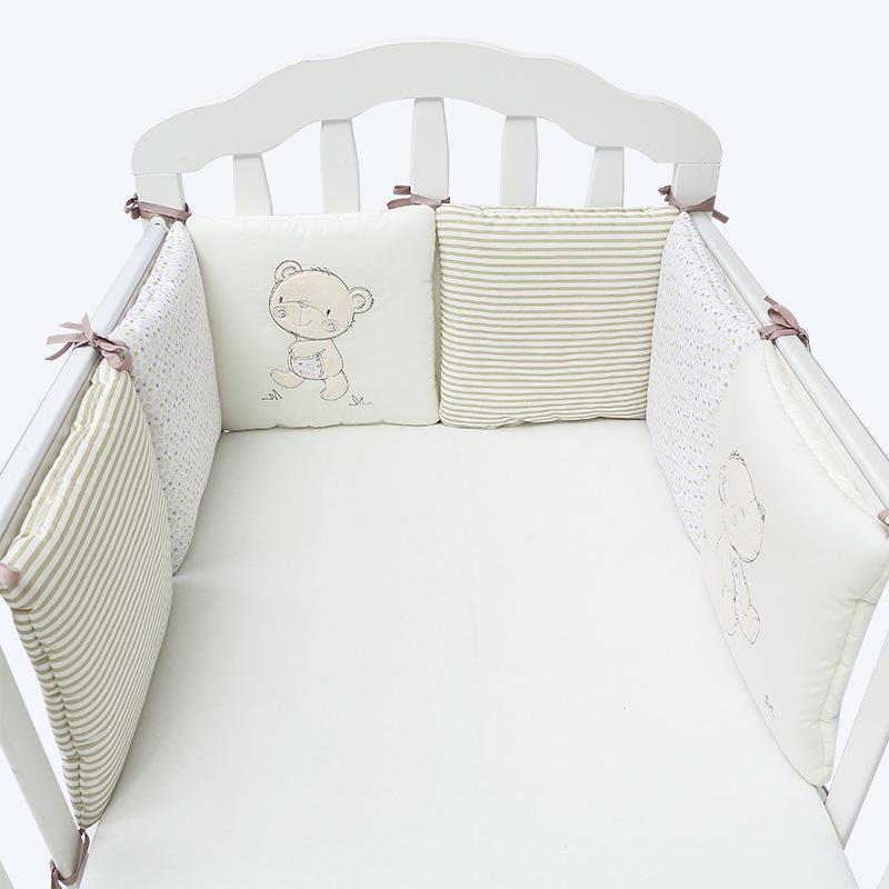 6x Cotton Baby Infant Cot Krippe Bumper Safety Protector Kleinkind Bett Pad