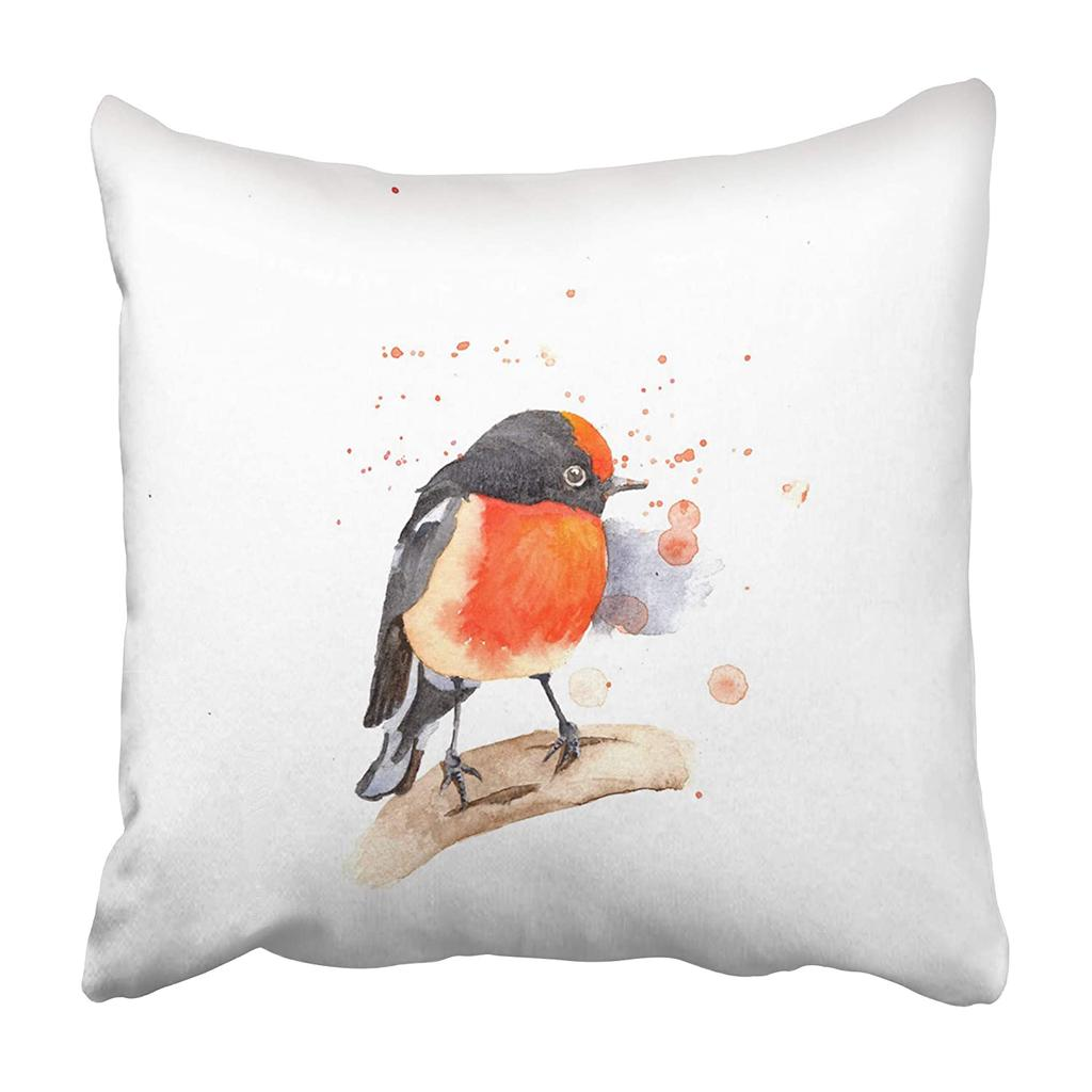 Animal Watercolor Red Capped Robin The White Beautiful Bird Branch Color Nature Bird Pillowcase 20x20inch 50x50cm Buy At A Low Prices On Joom E Commerce Platform