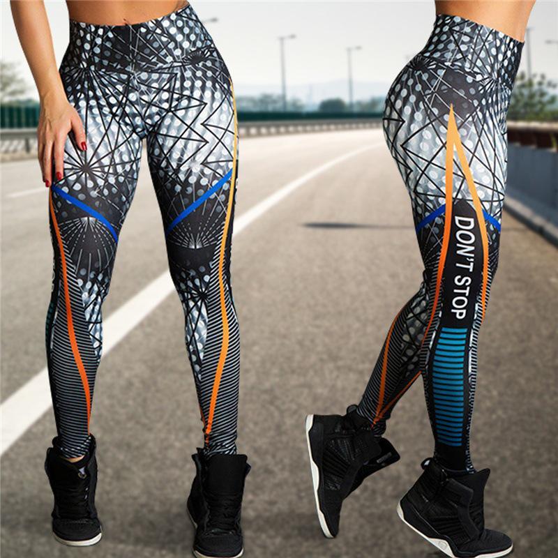 Женская мода напечатаны йоги штаны спортивные леггинсы Push Up высокой талией брюки – купить по низким ценам в интернет-магазине Joom