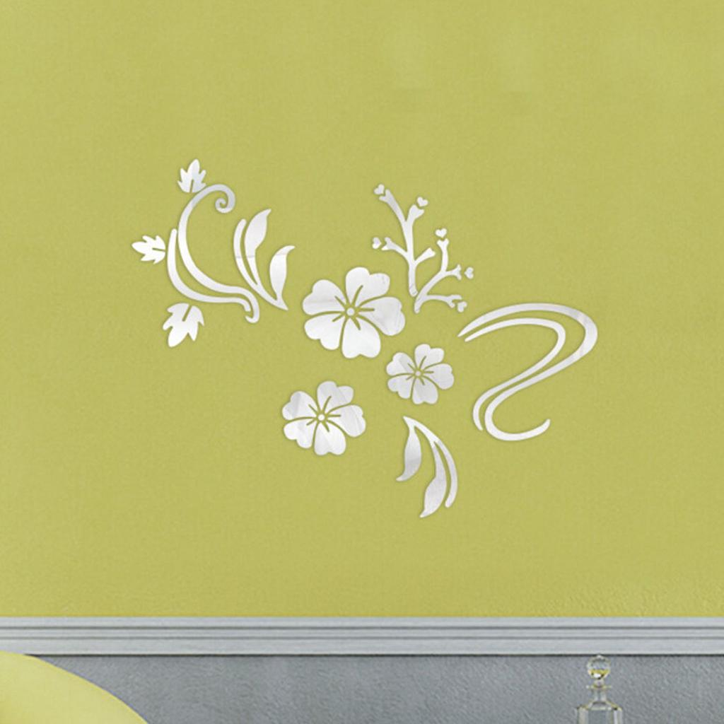 Wall Sticker Creative 3D Mirror Floral Pattern Wall Decal Wall Decor ...