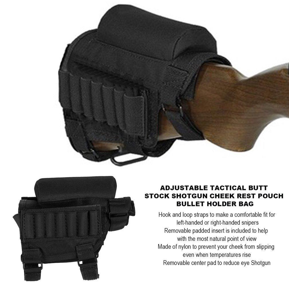 Best Adjustable Tactical Butt Stock Shotgun Cheek Rest Pouch Bullet