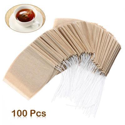 100 PCS Tea Filter Bags Disposable Tea Infuser Empty Tea Bags Drawstring Loose Herb Filter Bag 5x7cm