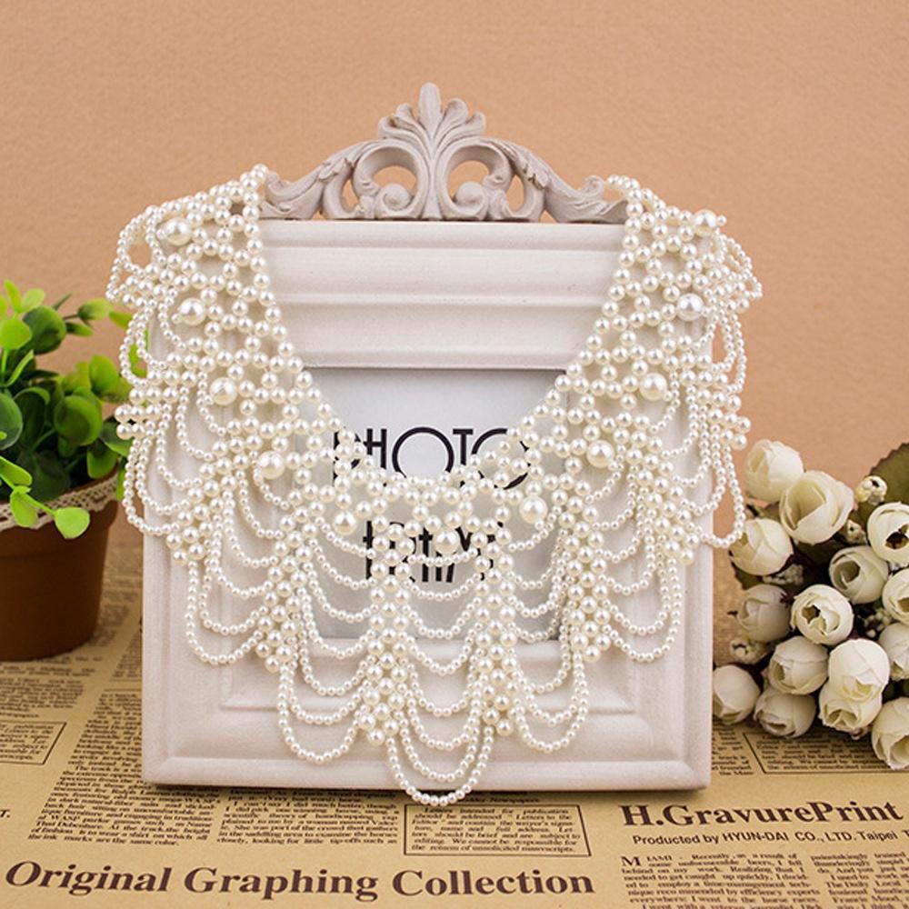 Элегантный ручной имитация черный/белый жемчуг выдолбленные нагрудник колье воротник заявление ожерелье фото