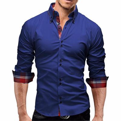 5daf38a2985fc0 Męska bluzka w kratę Koszula męska z długim rękawem Slim Fit Business  Casual Shirt