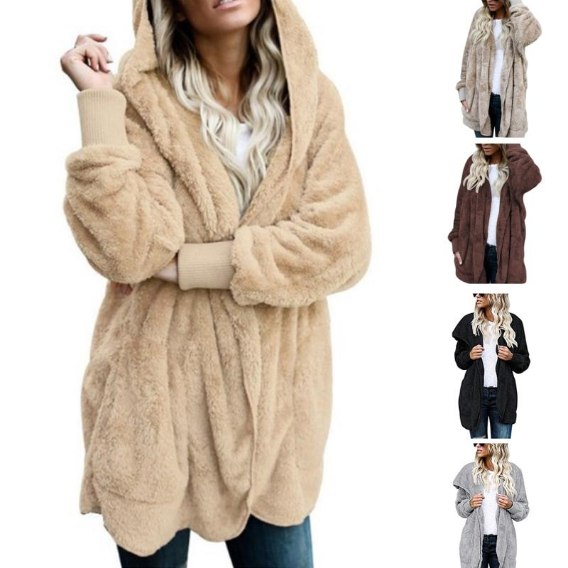 Womens Faux Fur Coat Hooded Cardigan Jacket Open Front Long Sleeve Solid  Color-buy at a low prices on Joom e-commerce platform 826947440
