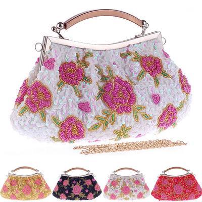 09815083875e Женщины, вечером партии мешок Кристалл Перл плиссированные бисером цветок  печатных сумочка
