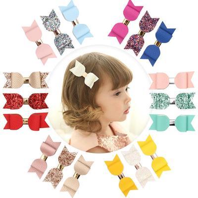 Baby Girl Hairbow Hairpins Chic Glitter Leather Bow Hair Clips Hair Headwear