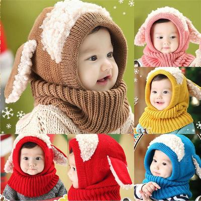 Baby Hat With Scarf Toddler Winter Beanie Warm Hat Hooded Scarf Earflap  Knitted Cap Cute Cartoon 430ffcc60f9e