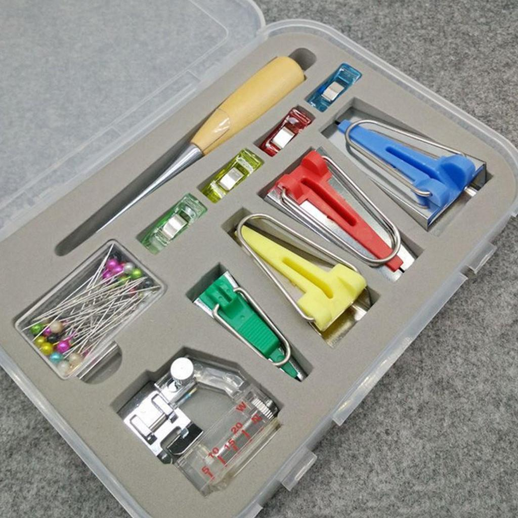 New 60PCS Fabric Bias Binding Tape Clip Maker Set Kit Sewing Quilting Tool