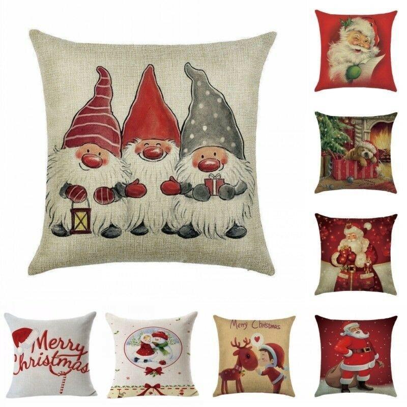 Xmas Хлопок льняной подушки Обложка С Рождеством Главная Украшение Подарок  – купить по низким ценам в интернет-магазине Joom