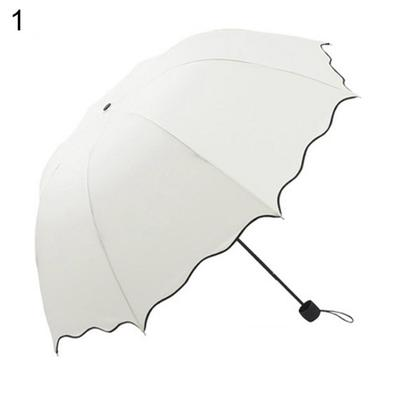 Cyan UJuly Anti-UV Foldable Sun//Rain Umbrella for Women Ladies with Princess Flouncing Edge Dome Solid Color Quality Parasol