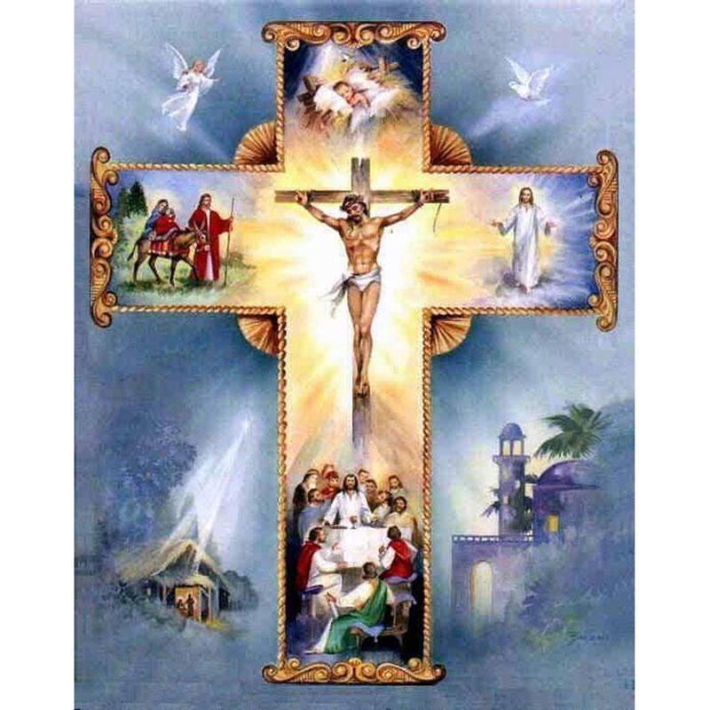 Крест строчки 5D DIY алмаз мозаика вышивка Христианский крест Иисуса Христа крест подарок домашний декор фото