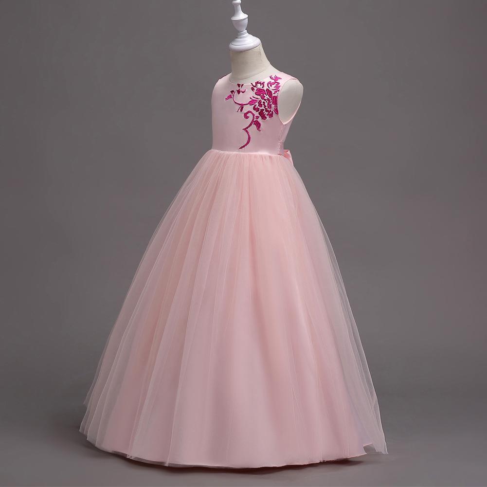 Los niños vestidos de princesa de niña sin mangas bordado faldas ...