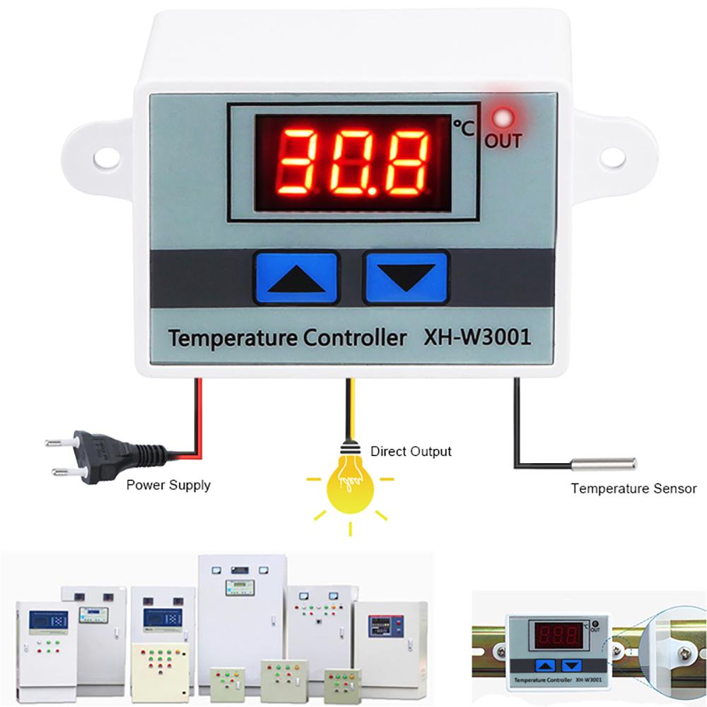 12V Digital Thermostat Controller Temperature Control Switch with Probe for Hatching Area,Equipment Case,Air Conditioning System Thermostat