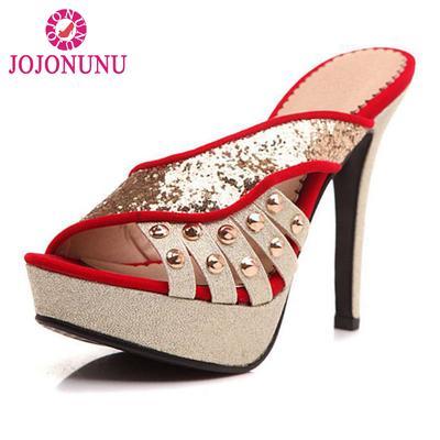 f4b139d09 Tamanho 33-40 Plataforma sapatos salto alto Peep Toe Gladiator Sandals  rebites Glitter moda chinelas