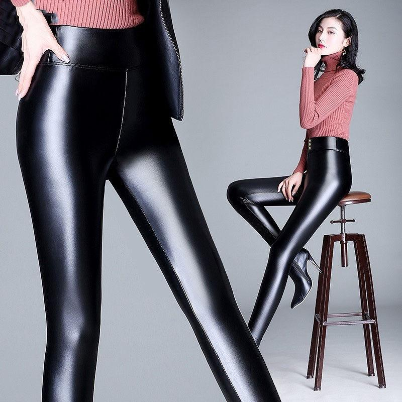 Womens Black Wet Look Leggings Stretch PU Faux Leather Style Plus Size L-XXXXL