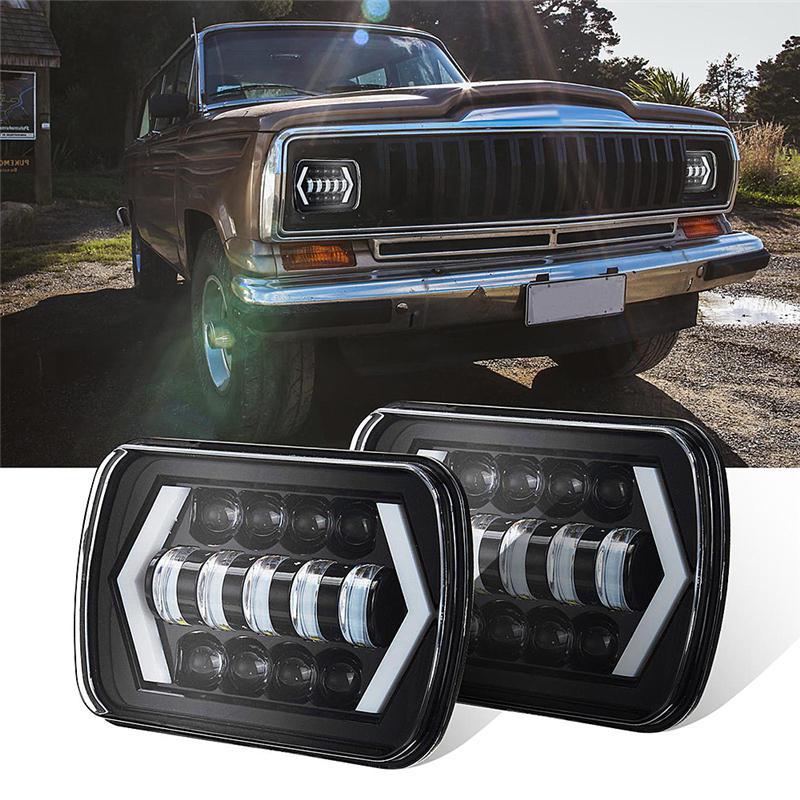 For Jeep Cherokee XJ 1984-2001 LED Projector Headlight Hi-Lo Beam Halo DRL Bulbs