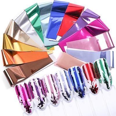1 Box 10 Pcs 2 5*100cm Holographic Nail Foil Set Transparent AB Color Nail  Art Transfer Sticker