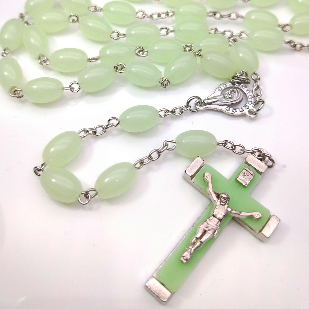 Night Luminous Beads Cross Pendant Necklace Glow In the Dark Jewelry Decorations