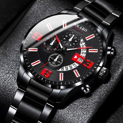 Fashion Men Watches Stainless Steel Calendar Analog Quartz Wrist Watches Business Casual Black Watch for Man Clock Reloj Hombre