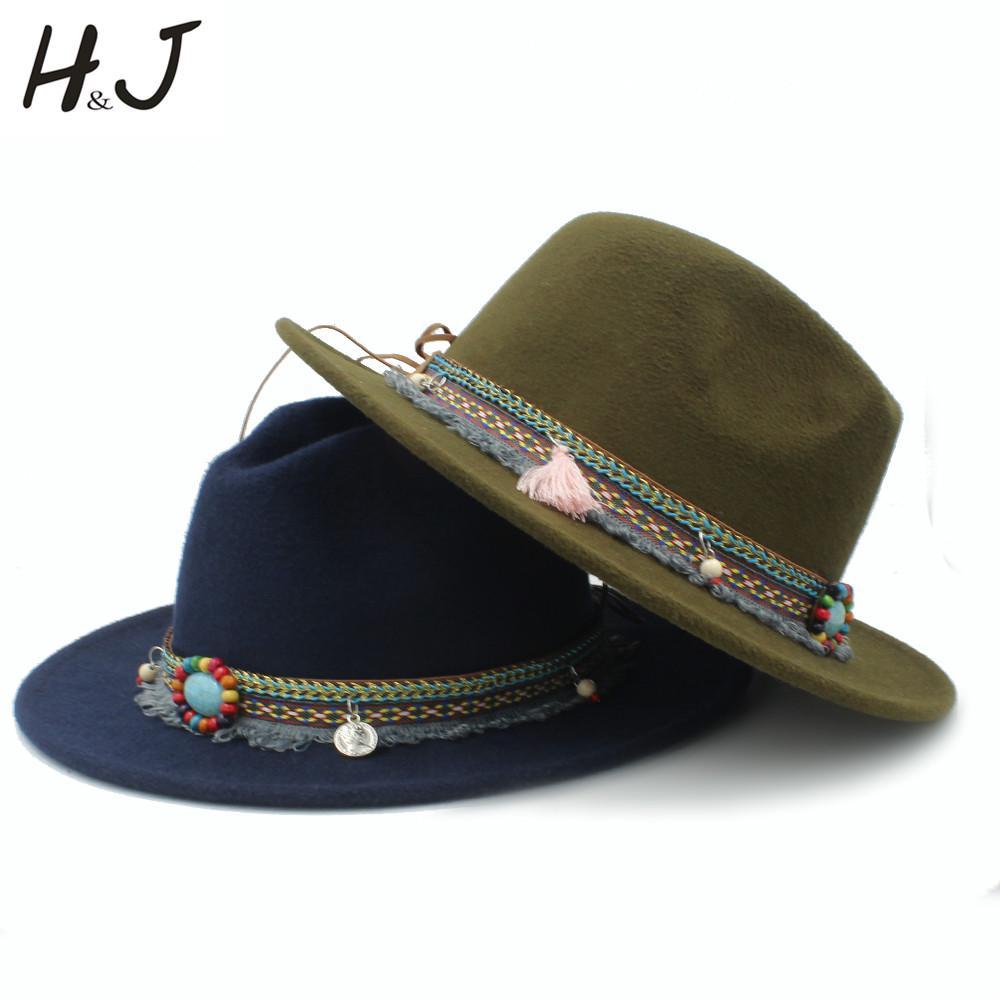 0ac71d1e56af9 Fashion Wool Women Men Outback Fedora Hat With Tassel Bohemia Ribbon ...