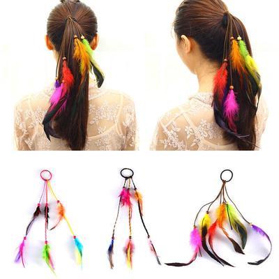 Fashion Women Hair Accessories Feather Leaf Hair Ring Elastic Hair Band Rope
