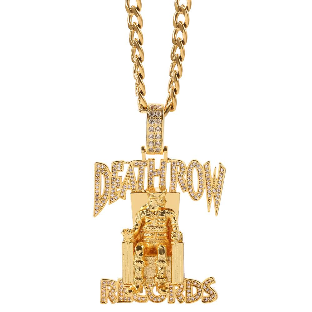 Hip Hop Death Row Records Pendant Necklace Men Link Chain Iced Out Bling Rhinestone Streetwear Party Jewelry Buy From 4 On Joom E Commerce Platform